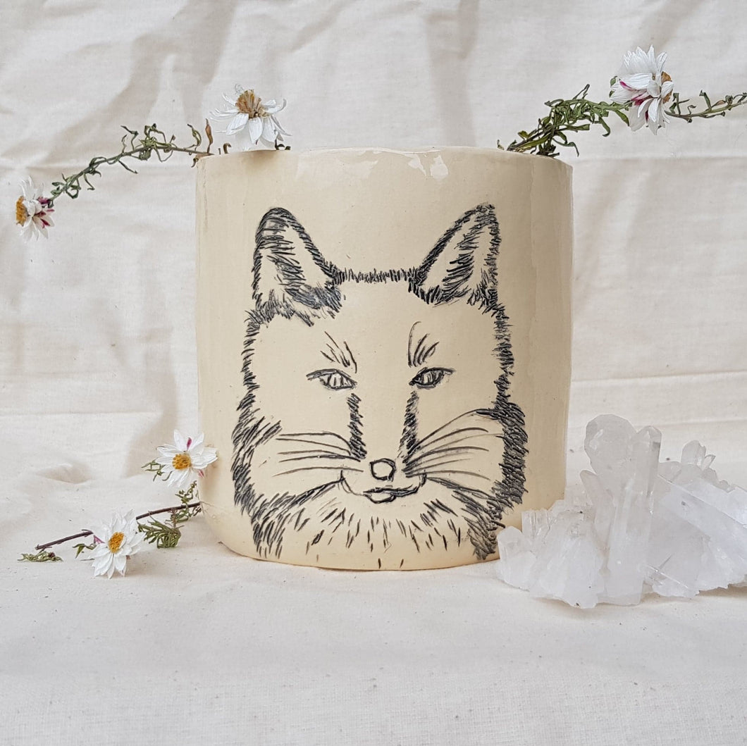Plant Pot/Planter: Staring Fox Pot - Foxy, Foxes, black and white, sketch