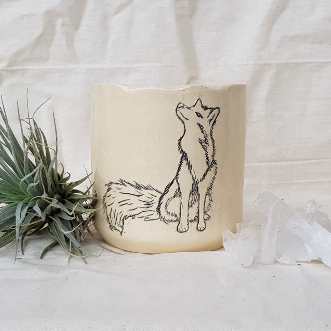 Plant Pot/Planter: Hopeful Fox - Foxy, Foxes, black and white, sketch
