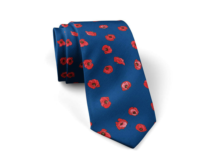 Red Poppy neck tie (navy)