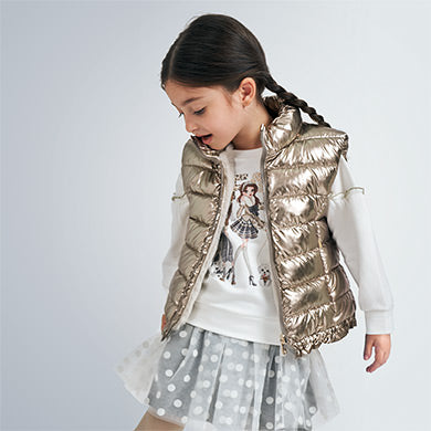 Mayoral Old Gold Reversible Padded Gilet 4352