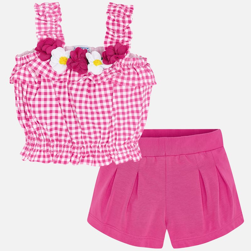 Mayoral Gingham & Flower Short and Top Set 3285