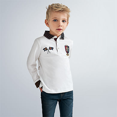 Mayoral Long Sleeve Polo with Applique 4136