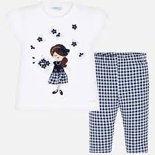 Mayoral Flower Girl Gingham Legging Set 3545