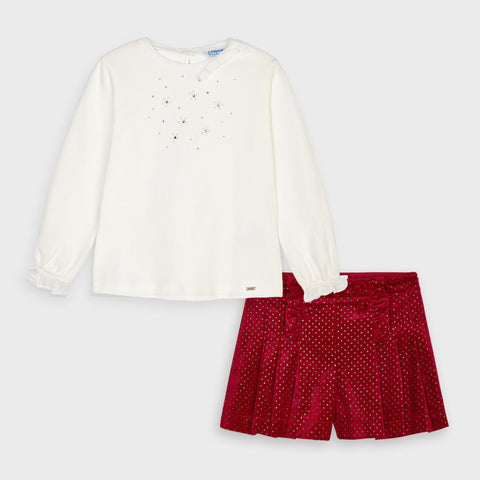 Mayoral Red Velvet Shorts Set 4207