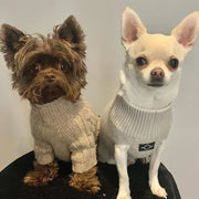 Two dogs wearing Over Glam jumpers