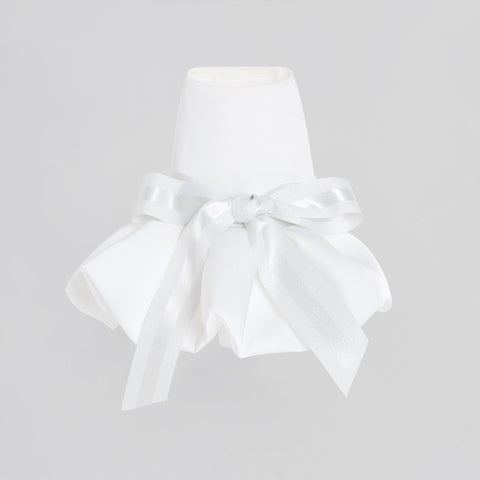 Bowknot Dress with Puff Hem (White)