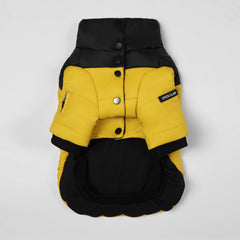 Contrast Button Up Puffer Ski Jacket(Yellow & Black)