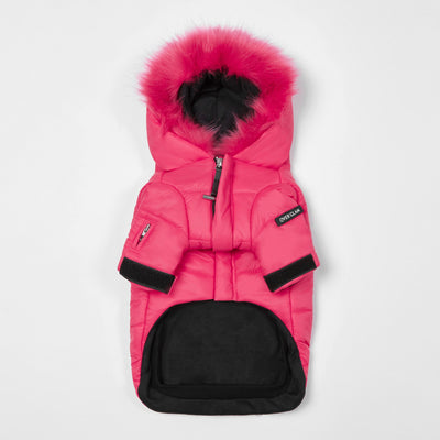 Faux Fur  Zip Up Puffer Ski Jacket with Hood - OVERGLAM LONDON