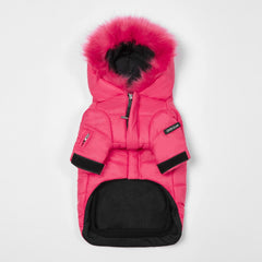 Faux Fur  Zip Up Puffer Ski Jacket with Hood(Rose)