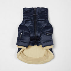 Glossy Zip Up Puffer Ski Jacket(Navy)