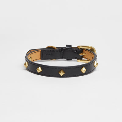 Golden Rivet Leather Collar (Black) - OVERGLAM LONDON