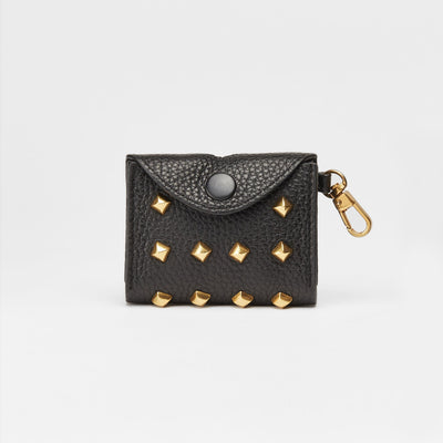 Golden Rivet Leather Pocket (Black) - OVERGLAM LONDON
