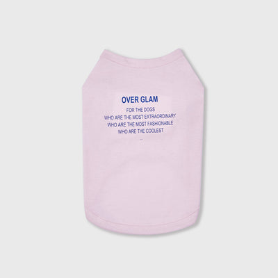 T-Shirt with Blue Text (Pink) - OVERGLAM LONDON