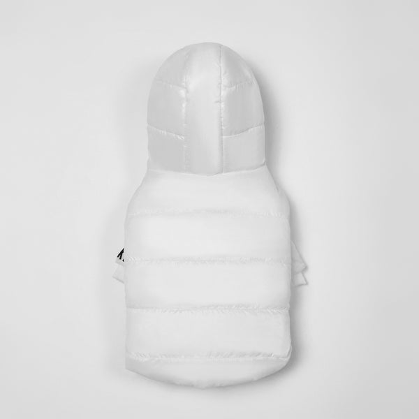 Zip Up Puffer Ski Jacket with Hood(White)