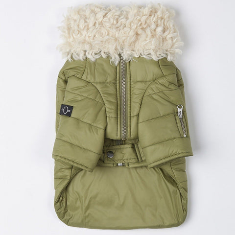 Faux Fur Puffer Jacket (Green)