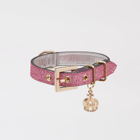 Glitter Collar with Crown (Rose)