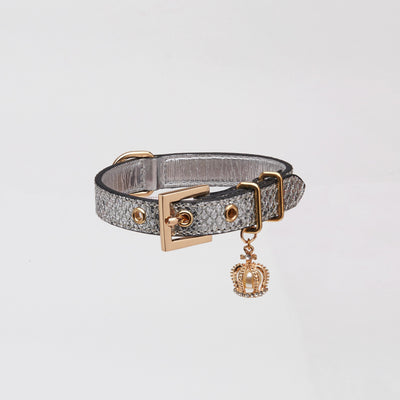 Glitter Collar with Crown (Silver) - OVERGLAM LONDON