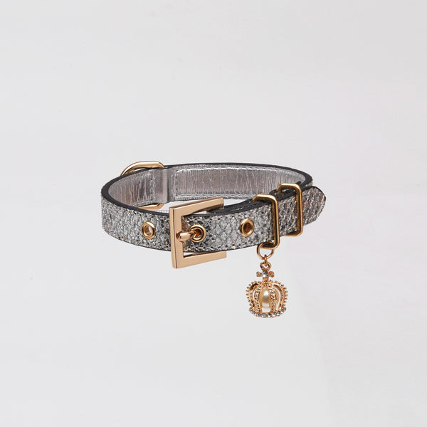 Glitter Collar with Crown (Silver)