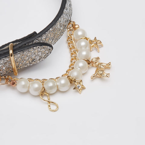 Glitter Collar with Pearl (Silver)