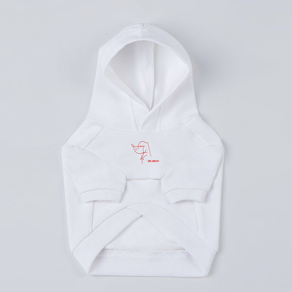 Hoodie with Stick Figure Print (White)