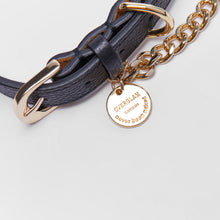Leather Collar with Chain (Black)