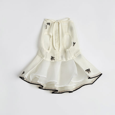 Pleated Dress with Embroider (Cream)