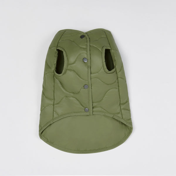 Sleeveless Bottom Up Jacket (Green)