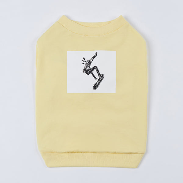 Sweatshirt with Skateboard Print (Light Yellow)