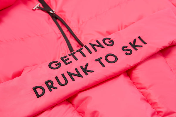 Human Zip Up Puffer Ski Jacket(Rose)