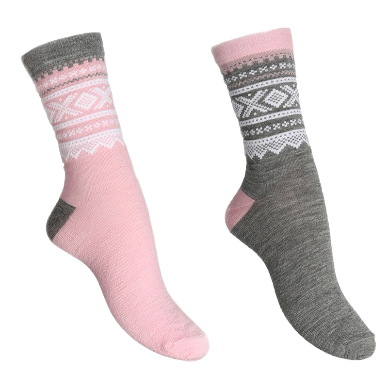 Wool Socks 2-pk Lotus Pink/Grey Kids - Marius®