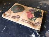 Vintage seed packet cotton zipped purse