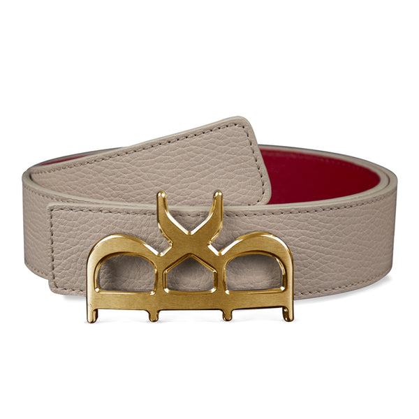 YVES BELT MEN BEIGE GOLD