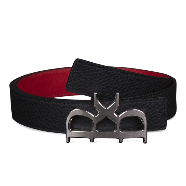 YVES BELT WOMEN BLACK GUNMETAL