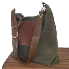 Recycle Leather Belt Canvas Hobo