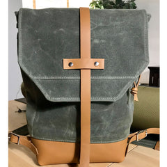 Waxed Canvas & Leather Daypack - Green