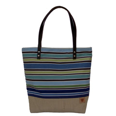 Large Blue Striped Canvas Tote