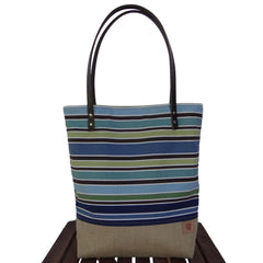 Blue Striped Canvas & Burlap Summer Tote