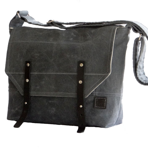 Men's Gray Waxed Canvas Field Messenger Bag