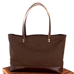 Mini Brown Houndstooth & Brown Leather Tote