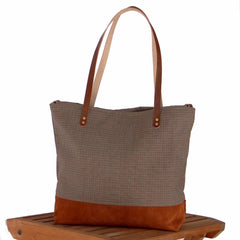 Suede Leather - Burnt Orange Tote