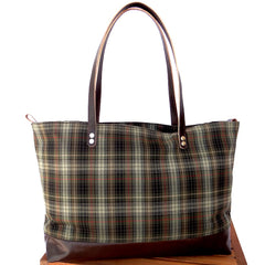 Plaid Green Tartan & Brown Leather Tote
