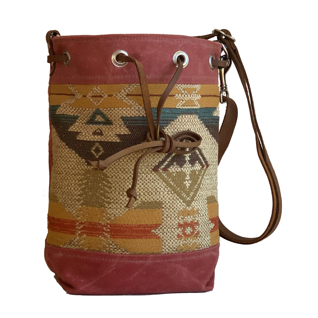 Wildwood Waxed Canvas Bucket Bag - Navajo Southwest - 1820 Bag Co.