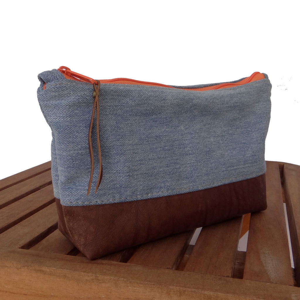 Marianna Repurposed Denim & Leather Pouch - Orange Zipper - 1820 Bag Co.