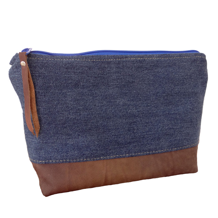 Marianna Repurposed Denim & Leather Pouch - Blue Zipper - 1820 Bag Co.