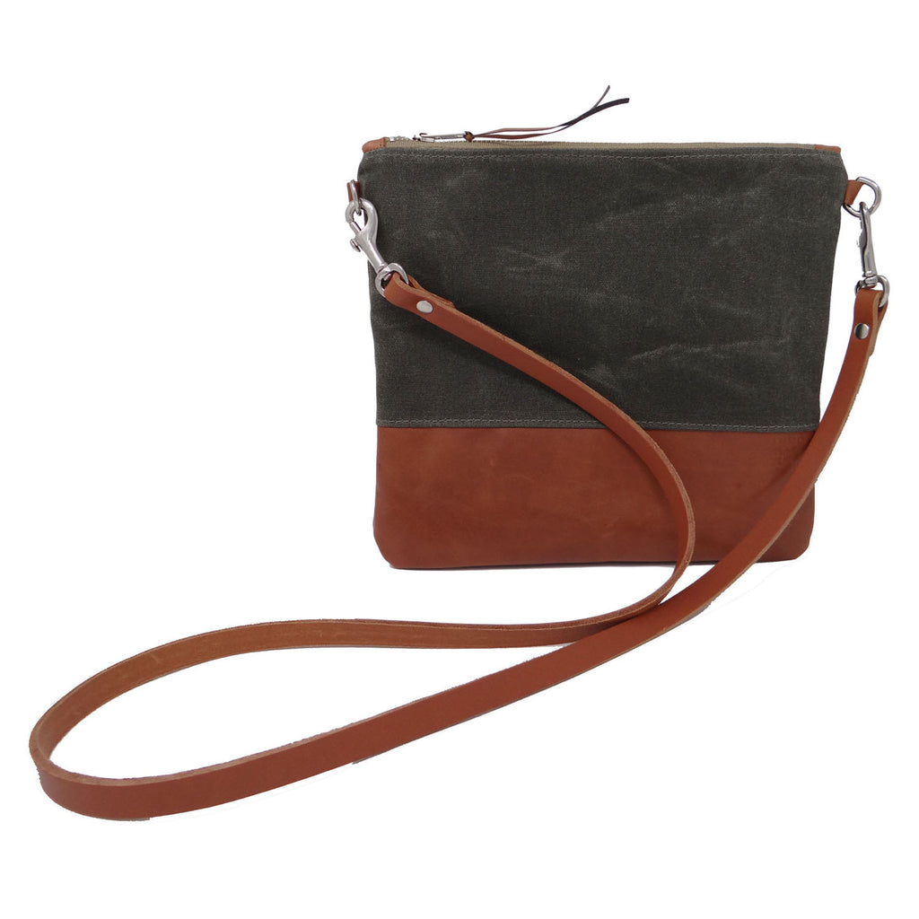 Sanibel Waxed Canvas & Leather Crossbody Bag - Olive and Tan
