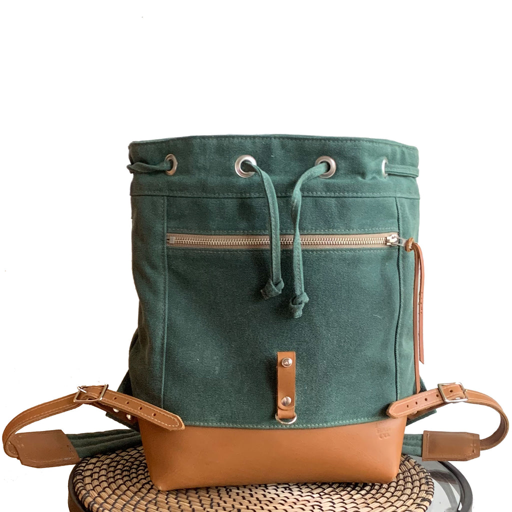 Archer Daypack in Leather & Waxed Canvas - 1820 Bag Co.