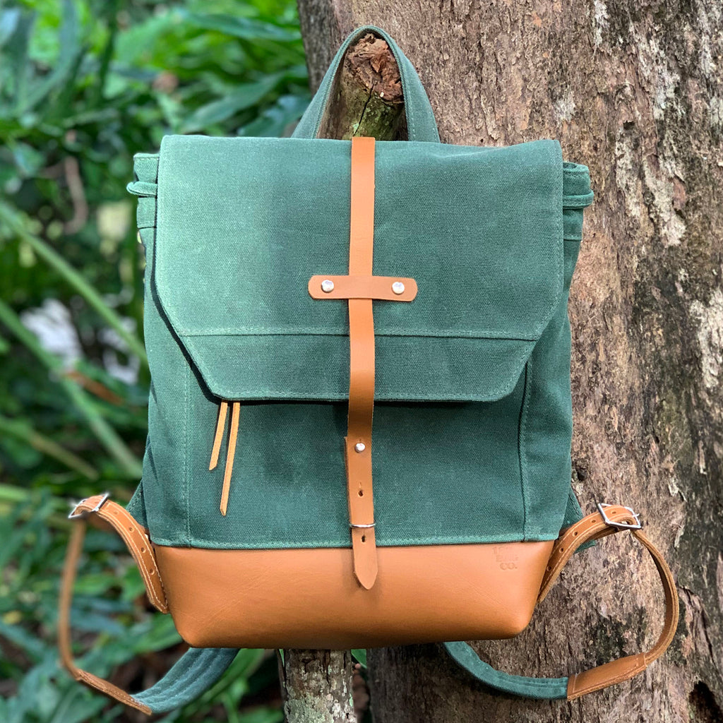 Archer Daypack in Leather & Waxed Canvas