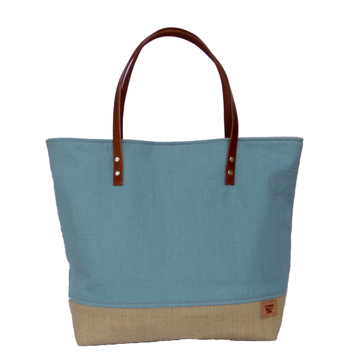 Panama Linen and Burlap Large Tote Bag - Blue and Beige
