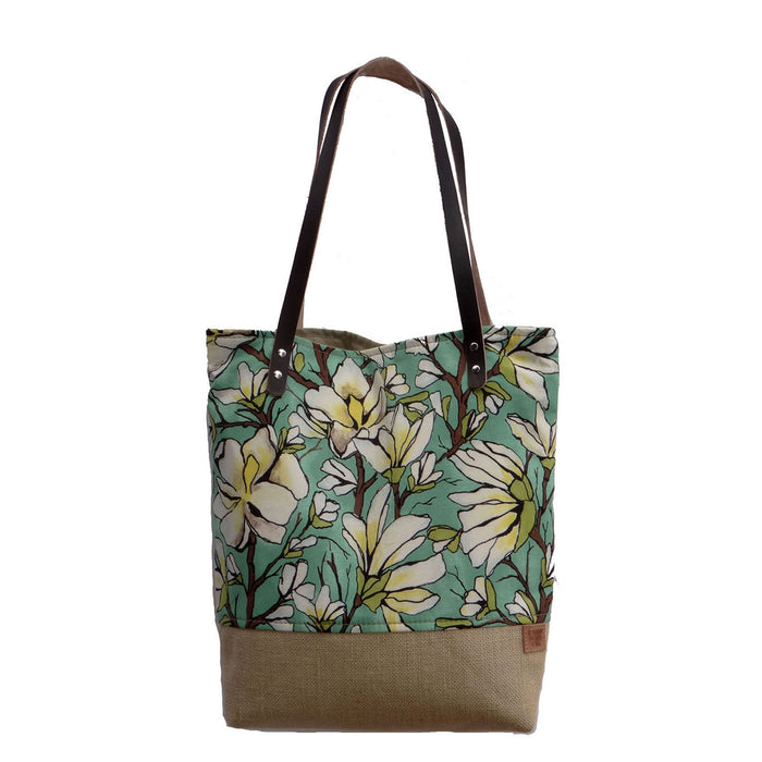 Panama Linen and Burlap Tote Bag - Floral and Beige
