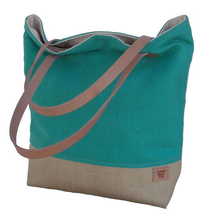 Panama Capri and Burlap Tote Bag - Teal and Beige